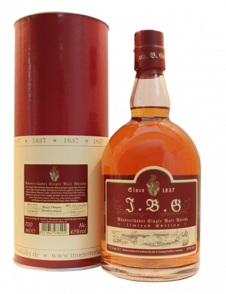 J.B.G Münsterländer Single Malt Whisky 43%vol., Sherry Oloroso cask.